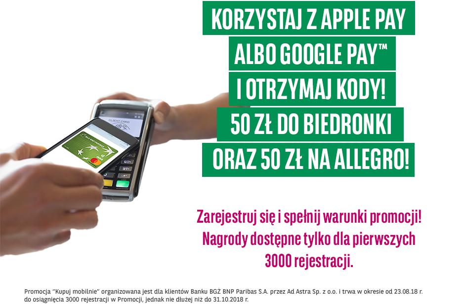 100 zł za płatności mobilne dla obecnych klientów BGŻ BNP Paribas
