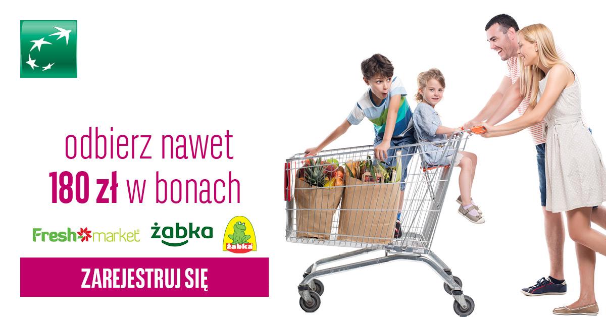 Darmowe 180 zł formie bonów do Żabki lub Freshmarket za założenie konta i płacenie kartą od BGŻ BNP Paribas