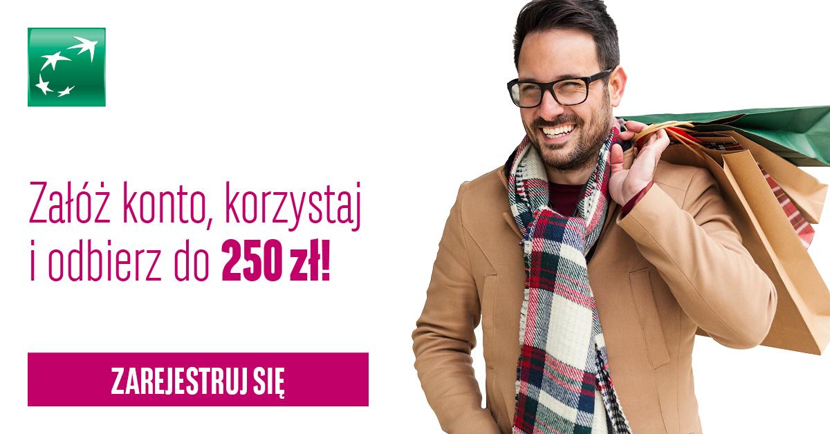 250 zł za założenie konta i aktywne korzystanie z konta od BGŻ BNP Paribas