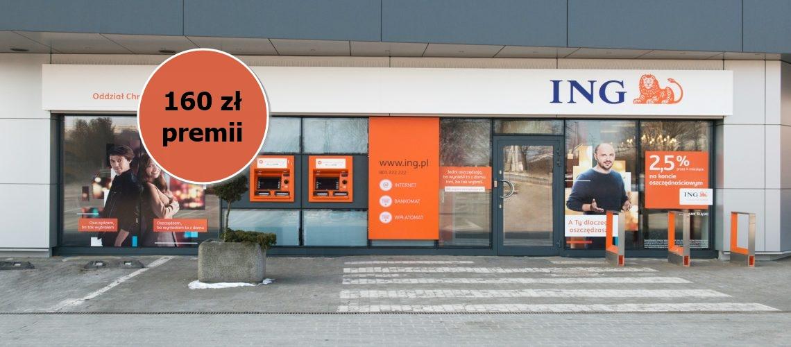 Promocja od ING Banku Śląskiego w której do zgarnięcia mamy 160 zł z darmowym kontem