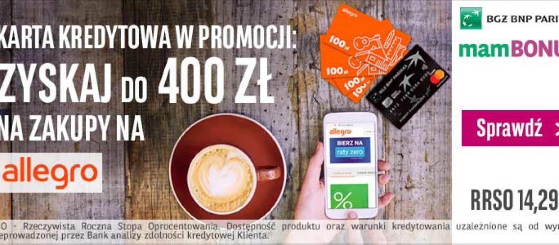 400 zł za kartę kredytową od BGŻ BNP Paribas